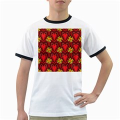 Digitally Created Seamless Love Heart Pattern Ringer T Shirts