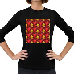 Digitally Created Seamless Love Heart Pattern Women s Long Sleeve Dark T-Shirts
