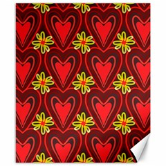Digitally Created Seamless Love Heart Pattern Canvas 8  X 10  by Nexatart
