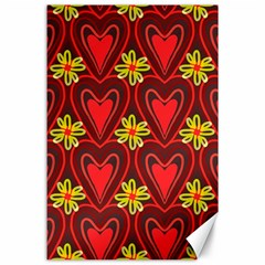 Digitally Created Seamless Love Heart Pattern Canvas 24  X 36  by Nexatart