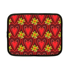 Digitally Created Seamless Love Heart Pattern Netbook Case (small)  by Nexatart