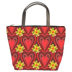 Digitally Created Seamless Love Heart Pattern Bucket Bags