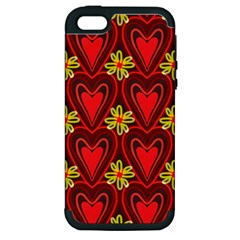 Digitally Created Seamless Love Heart Pattern Apple Iphone 5 Hardshell Case (pc+silicone)