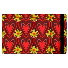 Digitally Created Seamless Love Heart Pattern Apple Ipad 2 Flip Case by Nexatart