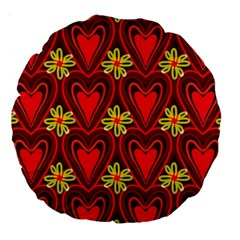 Digitally Created Seamless Love Heart Pattern Large 18  Premium Round Cushions by Nexatart