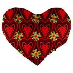 Digitally Created Seamless Love Heart Pattern Large 19  Premium Heart Shape Cushions by Nexatart