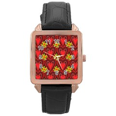 Digitally Created Seamless Love Heart Pattern Rose Gold Leather Watch  by Nexatart