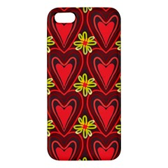 Digitally Created Seamless Love Heart Pattern Apple Iphone 5 Premium Hardshell Case by Nexatart