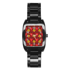 Digitally Created Seamless Love Heart Pattern Stainless Steel Barrel Watch