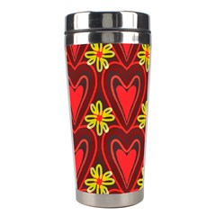Digitally Created Seamless Love Heart Pattern Stainless Steel Travel Tumblers by Nexatart