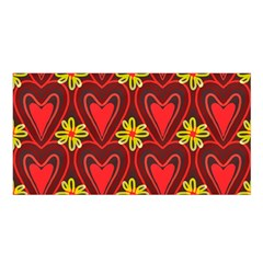 Digitally Created Seamless Love Heart Pattern Satin Shawl