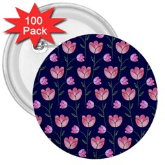 Watercolour Flower Pattern 3  Buttons (100 Pack)