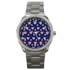 Watercolour Flower Pattern Sport Metal Watch by Nexatart