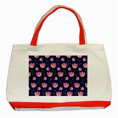 Watercolour Flower Pattern Classic Tote Bag (red)