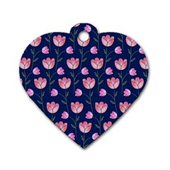 Watercolour Flower Pattern Dog Tag Heart (one Side) by Nexatart