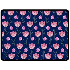 Watercolour Flower Pattern Double Sided Fleece Blanket (large)