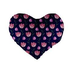 Watercolour Flower Pattern Standard 16  Premium Flano Heart Shape Cushions by Nexatart