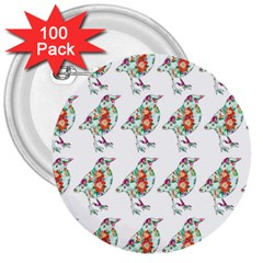 Floral Birds Wallpaper Pattern On White Background 3  Buttons (100 Pack)  by Nexatart