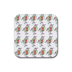 Floral Birds Wallpaper Pattern On White Background Rubber Square Coaster (4 Pack)