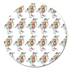 Floral Birds Wallpaper Pattern On White Background Magnet 5  (round)
