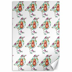 Floral Birds Wallpaper Pattern On White Background Canvas 20  X 30