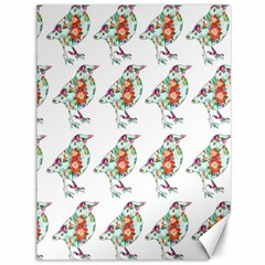 Floral Birds Wallpaper Pattern On White Background Canvas 36  X 48