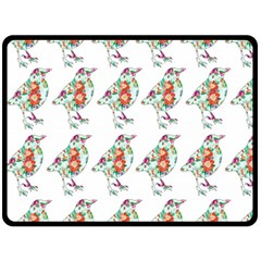 Floral Birds Wallpaper Pattern On White Background Fleece Blanket (large)  by Nexatart