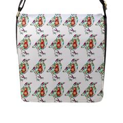 Floral Birds Wallpaper Pattern On White Background Flap Messenger Bag (l)  by Nexatart