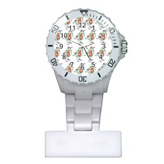 Floral Birds Wallpaper Pattern On White Background Plastic Nurses Watch