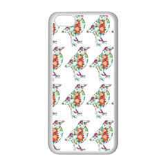 Floral Birds Wallpaper Pattern On White Background Apple Iphone 5c Seamless Case (white) by Nexatart