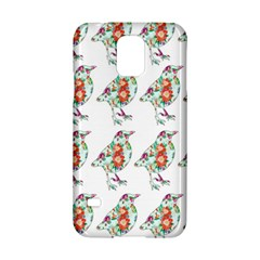 Floral Birds Wallpaper Pattern On White Background Samsung Galaxy S5 Hardshell Case
