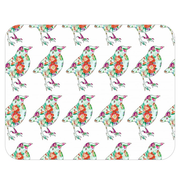 Floral Birds Wallpaper Pattern On White Background Double Sided Flano Blanket (Medium)