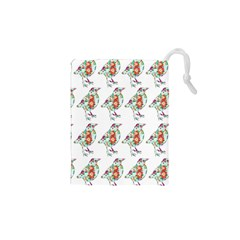 Floral Birds Wallpaper Pattern On White Background Drawstring Pouches (xs)  by Nexatart