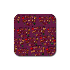 Happy Mothers Day Text Tiling Pattern Rubber Square Coaster (4 Pack)  by Nexatart
