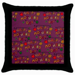 Happy Mothers Day Text Tiling Pattern Throw Pillow Case (black)