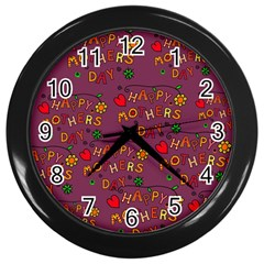 Happy Mothers Day Text Tiling Pattern Wall Clocks (black)