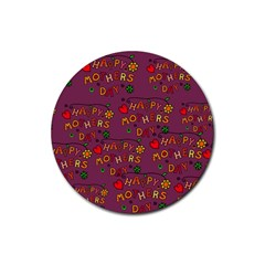 Happy Mothers Day Text Tiling Pattern Rubber Round Coaster (4 Pack)