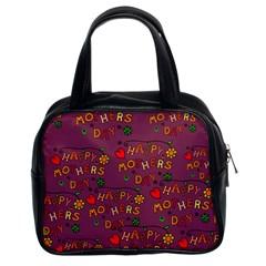 Happy Mothers Day Text Tiling Pattern Classic Handbags (2 Sides) by Nexatart