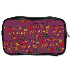 Happy Mothers Day Text Tiling Pattern Toiletries Bags