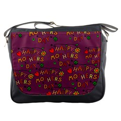 Happy Mothers Day Text Tiling Pattern Messenger Bags