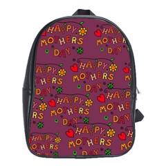 Happy Mothers Day Text Tiling Pattern School Bags (xl)