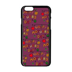 Happy Mothers Day Text Tiling Pattern Apple Iphone 6/6s Black Enamel Case by Nexatart