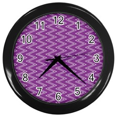 Purple Zig Zag Pattern Background Wallpaper Wall Clocks (Black) by Nexatart