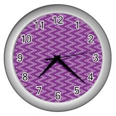 Purple Zig Zag Pattern Background Wallpaper Wall Clocks (silver)  by Nexatart