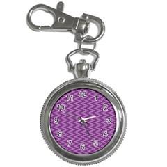 Purple Zig Zag Pattern Background Wallpaper Key Chain Watches by Nexatart
