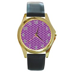 Purple Zig Zag Pattern Background Wallpaper Round Gold Metal Watch