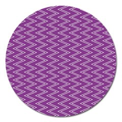 Purple Zig Zag Pattern Background Wallpaper Magnet 5  (round) by Nexatart