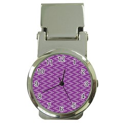 Purple Zig Zag Pattern Background Wallpaper Money Clip Watches by Nexatart