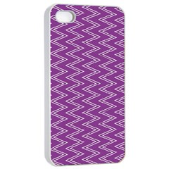 Purple Zig Zag Pattern Background Wallpaper Apple Iphone 4/4s Seamless Case (white)