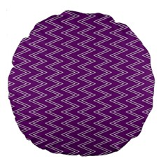 Purple Zig Zag Pattern Background Wallpaper Large 18  Premium Round Cushions by Nexatart